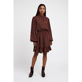 Louche Womens Alana Stamp Print Long Sleeve Mini Dress Brown