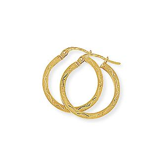 Jewelco London Ladies 9ct Yellow Gold Engraved Square Hoop Créole Boucles d'oreilles 20mm