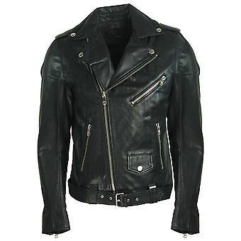 Diesel R-Lumenirok Schwarz Leder Biker Jacke