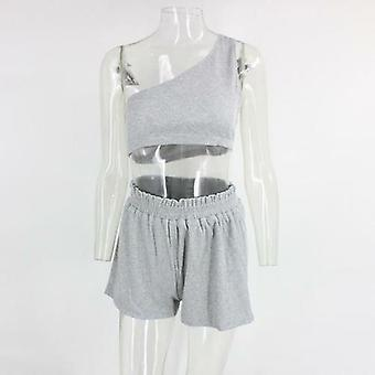 One-shoulder Ruffle Crop Top And Shorts Two-piece Set