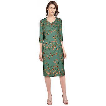 שיק כוכב עיפרון רטרו שמלה ירוקה / פרחונית