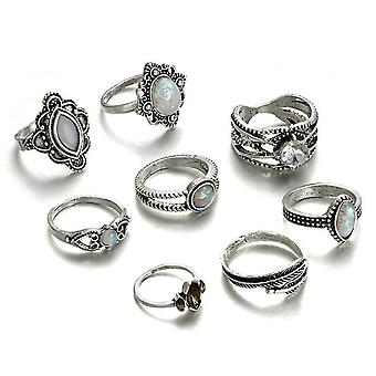 8pcs Retro Ring Set Gem Leaf Feather Hollow Finger Ring For Birthday Gift