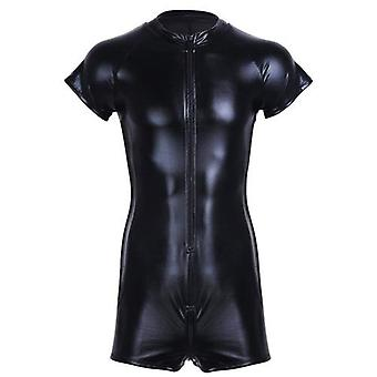 Wet Look Latex Catsuit Faux Leather Mesh Jumpsuits