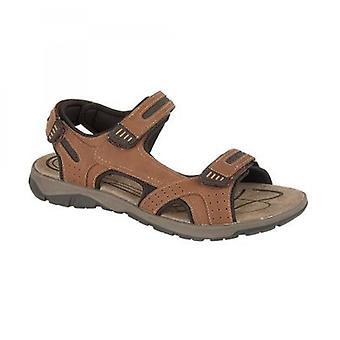 PDQ Sahara Mens Touch Fasten Sports Sandals Brown