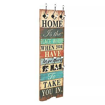 "armadio da parete vidaXL con 6 ganci 120 x 40 cm ""HOME IS"""