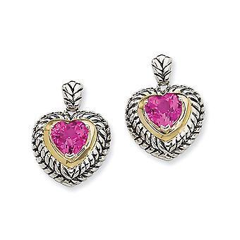 925 Sterling Zilveren Post Oorbellen Met 14k 8mm Gemaakt Roze Sapphire Love Heart Oorbellen Sieraden Geschenken voor Vrouwen
