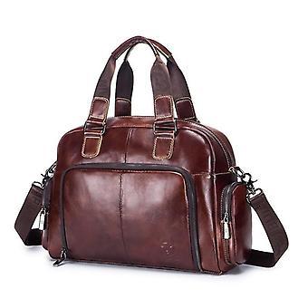 Men's Leather Briefcase, Business Shoulder Messenger Handbag