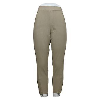 H by Halston Women's Petite Pants Knit Denim Ankle Zipper Green A351209
