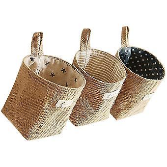 FengChun None/Brand Baumwolle Leinen Aufbewahrungstasch, 3pcs Baumwolle Leinen Hamper, abnehmbar,