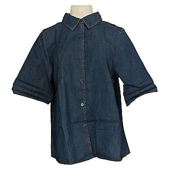 Denim &co. kvinners topp lett stretch denim A-line skjorte blå A366965
