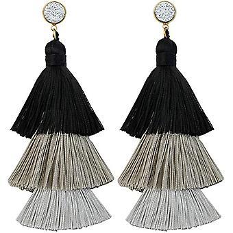 KYEYGWO - Orecchini da donna con nappa, in stile bohemien, con filo, con cristalli e albero a goccia e Lega, colore: Orecchini Ref. 0715444084355