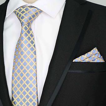 Sininen kaura & oranssi timantti tasku neliön & kravatti asetettu