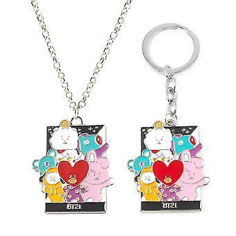 2pcs Bts Bullet-proof Youth Necklace Keychain Alloy Pendant
