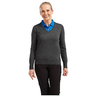 Footjoy Womens Wool V Neck Pullover Jumper Sweater Long Sleeves Casual Top