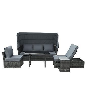 Outsunny 5 PCS Outdoor Rattan Wicker Sofa Sets Reclining Sofa Adjustable Canopy & Side Table Dining Table Set Sectional Conversation Furniture w/ Cushions, Mixed Grey