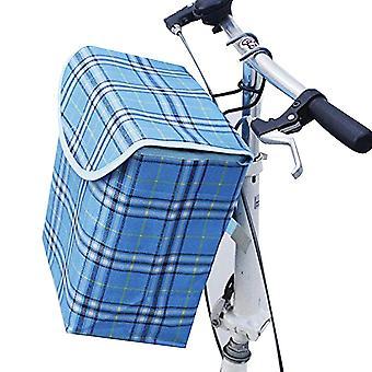 Bike Basket Canvas Dot Pattern Front Handlebar Portable Bicycle Lift Off Baskets(Blue)