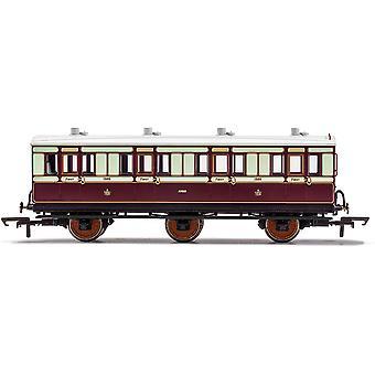 הורנבי LNWR 6 גלגל מאמן מחלקה 1 1889 דגם אדום