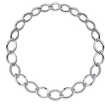 Gisser Jewels - Halsband - Choker Open Fantasy Link set med Zirconia - 15mm Bred - Längd 45cm - Gerhodineerd Zilver 925