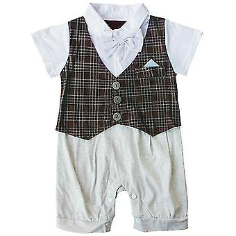 Chlapec Bowknot Gentleman Romper Kostkovaný outfit 24M