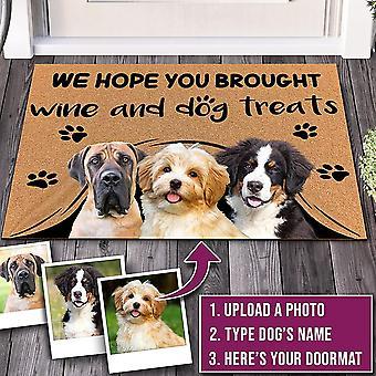 Aangepaste deurmat gepersonaliseerde geschenkentekst naam huisdier hond kat foto geen noodzaak om te kloppen we weten dat je hier bent, binnen / buiten tapijt deurmat