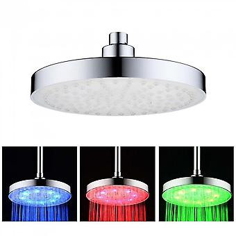 Three Colors Lights Top Spray Abs Round Led Top Spray Temperature Control