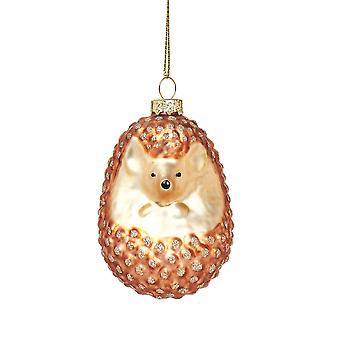 SISTA FÅ - Single 7cm Glass Hedgehog Christmas Bauble Decoration Ornament