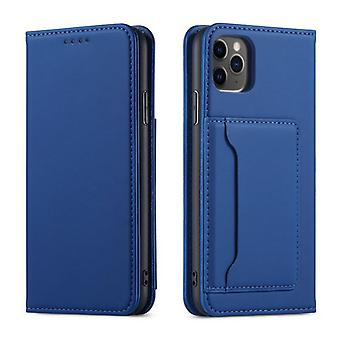 Blue flip folio leather case for samsung a32 4g pns-4029