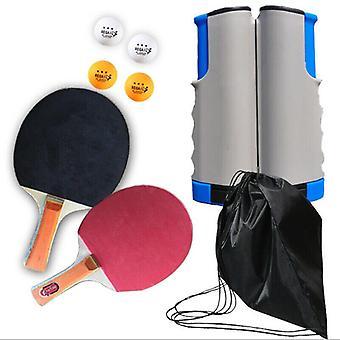 (Cinza e cinza; Azul) Rede de tênis de mesa e post one sets com mini post portátil bat ball exercício brinquedo