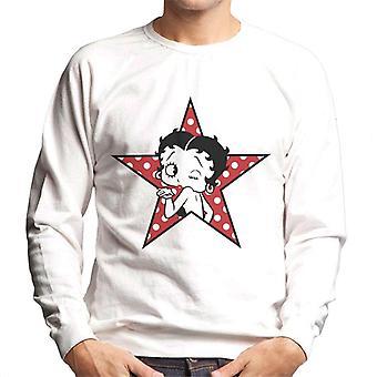 Betty Boop Wink Polka Dot Star Men's Sweatshirt