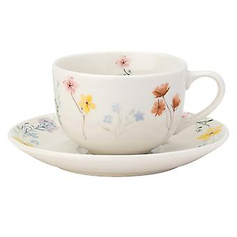 English Tableware Co. Pressed Flowers Cup & Saucer