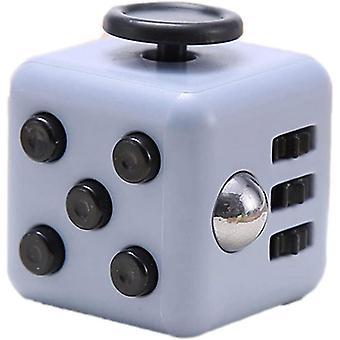 6 zijden Fidget Toys Cube Fidget Cube verlicht stress en angst kubus (grijs zwart)