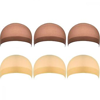 Perücke Caps, 6pcs Nylon Unisex High Stretchy Hairnet (Hautfarbe, Braun)