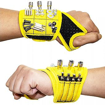 Magnetic Wristband With Super Strong Magnets Holds Screws, Nails, Drill Bit.(Yellow)