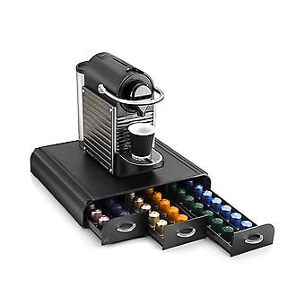 Coffee Pod And Capsule Organiser Machine Stand with 3 Drawer, Black
