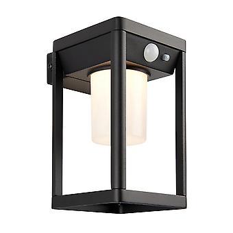 Endon Hallam Moderna lampada da parete a LED dimmerabile ad energia solare con texture nera, sensori pir di movimento e notte diurna, bianco caldo, IP44