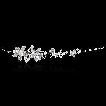 Kristalli strassikivi jäljitelmä Pearl Flower Party Morsius otsanauha Hiusnauha Bändi Tiara