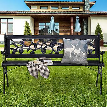 Floral Design 3-Seater Outdoor Garden Path Leisure Bench