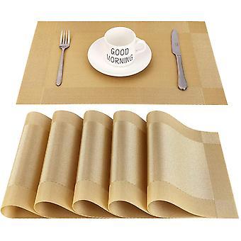 Hitzebeständiges, rutschfestes PVC rechteckiges Tischset, geeignet für Esszimmer, Küche oder Esstisch, 45 x 30 cm, Set 6 Stück, Gold