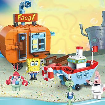 2 Styles Block Pineapple House Patrick Figures Assembled Building Blocks Educational Toys For Children's & Kids Gift