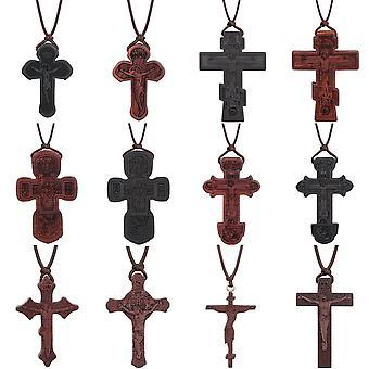 宗教的なウンビラ黒檀木製正統派クロスネックレスインリセントベネディクト十字架のイエスペンダントネックレスのための男性の祈りのジュエリー