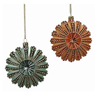 Green Orange Sea Urchins Holiday Ornaments Set of 2 Katherines Collection