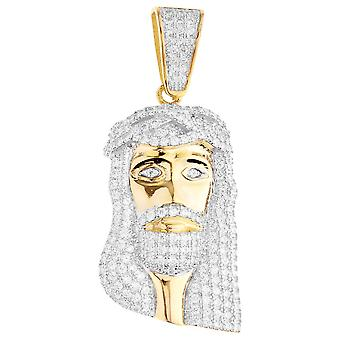 Premium Bling - 925 sterling silver Jesus head pendant gold