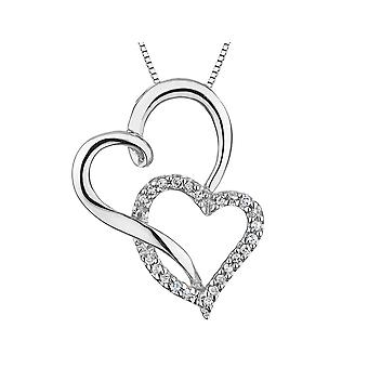 Diamond Double Heart Pendant Necklace 1/10 Carat (ctw) in Sterling Silver with Chain