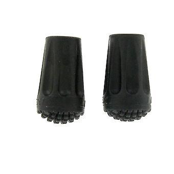 New Leki 2 Pack Rubber Walking Pole Tips Black