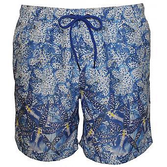 Enkel Cavalli afbeelding Floral foto Print zwemmen Shorts, blauw