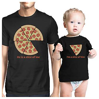 Slice Of Me Slice Of Him Funny New Dad Gift Matching Shirts Cotton