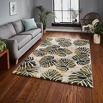 Tropikerna mattor 6097 i grädde och grönt