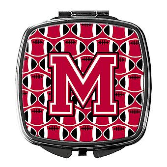 Letter M Football Crimson and White Compact Mirror