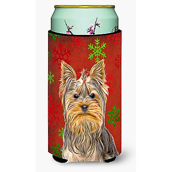 Fiocchi di neve rossi vacanza Natale Yorkie / Yorkshire Terrier Tall Boy bevanda ho