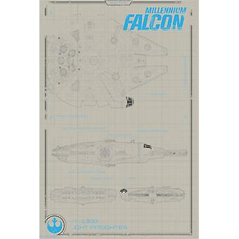 Kolekcjoner - Star Wars The Force Awakens - Millennium Falcon plakat Poster Print